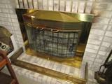 Fireplace Guard Brass w/ 2 Glass Windows Pierced Pattern Design w/ Bead/Floral Pattern