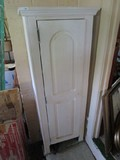 White Wooden 1 Door Storage Cabinet Grooved Design w/ Contents