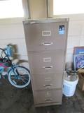 Brown Metal 4 Drawer Filing Cabinet
