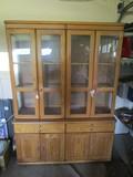 Wooden China Cabinet, 4 Doors w/ Glass Windows, 2 Drawers, 4 Lower Doors, 2 Glass Shelves