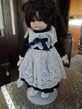 Doll w/ Porcelain Head/Hands/Feet in Blue Dress on Stand