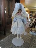 Doll w/ Porcelain Head/Hands/Feet in Sky Blue Dress on Stand