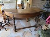 Mahogany Curved Work Desk, 1 Drawer, 2 Drop Leaf Ends, Pad Feet w/ Stretchers