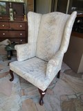 Vintage Arm Chair Purple Floral Upholstered Design Curved Wood Front Feet