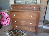 Vintage Oak 5-Drawer Standing Chest, Locks No Key, 2 Over 3, Pulls Replaced