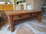 Antique-Style Wooden Coffee Table, 3 Drawers, Black Metal Pulls, Slat Sides