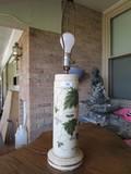 Ceramic Leaf/Vine Design Lamp Gilted Trim