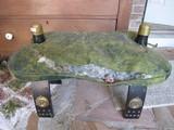 Egypt Wooden Stool Metal Caps, Pharaoh Medallions w/ Green Upholstered Top