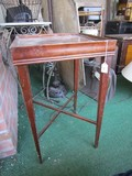 Wooden Side Table Square Top, Tapered Legs w/ Stretchers