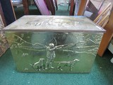 Copper/Brass Wooden Inlay Box w/ Hunting Scene Design