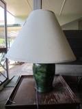 Green Ceramic Urn Body Vase Lamp w/ Shade