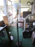 Tall Metal Torchiere Lamp, Diamond Cut Center w/ Milk Glass Shade, Column Stand