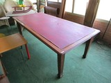 Mahogany Long Game Table Dark Wood Body Arrow Feet, Red Vinyl Top