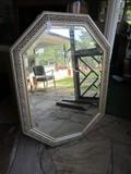 Large Wall Mounted Mirror in Ornate Twist/Leaf Motif Gilted Frame/Matt