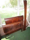 Wooden Sleigh Style Head/Footboard w/ Wood Rails, Curled Arms/Sides