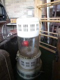 Large Gas-To-Electric Heater Lamp White Metal Pierced Design w/ Handle