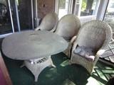 Wicker Lot - 3 Diamond Pattern White Wicker Chairs Arched Back w/ Glass Top Wicker Table