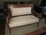 Vintage Antique Oak Bench Cream/Asian Motif Upholstery, Floral Ribbon Design Trim Top