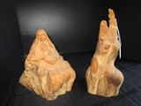 2 Wooden Carved Décor Figurines