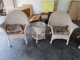 Wicker Lot - 1 Wicker Side Table w/ 2 Large Wicker Chairs Diamond Motif