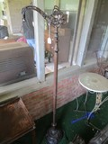 Tall Metal Column Torchiere Lamp, Column Body, Ornate/Floral Curled Top