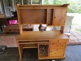 Wooden Work Desk Base/Top, 3 Drawers Base, 1 Inlay Shelf, 1 Top Drawer w/ CD Rack