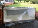 Wooden/Glass Front Display Case w/ Plug Base, Sliding Door Back, 4 Lower Drawers