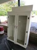 Wooden Kitchen Cabinet Wall Mounted Black Metal Pulls, 2 Glass Doors