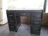 Wooden Black Desk 7 Drawers w/ Brass Pulls