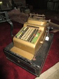 Vintage/Antique Register/Cash Machine on Wooden Base, Yellow Painted Metal Body