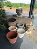 Grecian Urn/Design Planters, 1 w/ Grape Motif, 1 w/ Myth Motif, 2 w/ Floral Motif