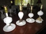 Vintage Milk Glass 4 Desk Lamps