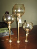 3 Raised Votive Candle Holders Glass w/ Gilted/Speckled Design