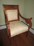 Vintage Antique Oak Chair Cream/Asian Motif Upholstery, Floral Ribbon Design Trim Top