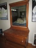Turn-Of-Last-Century Antique Oak Design Vanity w/ Mirror, Wave Sides, 3 Drawers, Lock w/ Key