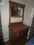 Turn-Of-Last-Century Antique Oak Vanity w/ Small Mirror, Wave Sides, 3 Drawers, Lock w/ Key