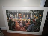 American Plantation Scene Puzzle Picture in White Wood Frame/Wood Back