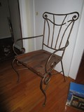 Metal Body Wood Seat Chair Slat Back Curled Arms/Legs
