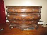 Wooden Bow Front Antique Design Dresser 4 Drawers, Curled Floral Brass Pulls
