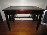 Mahogany Mission Desk w/ 1 Drawer Pulls, 2 Side Storage Shelves
