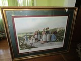 Berry Pickers Print Picture in Large Gilted Ornate Frame/Matt
