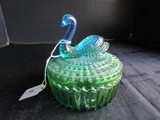 Vintage Green & Blue Glass Swan Motif Curved Dish