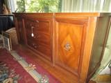Mahogany Long Buffet 3 Drawers, 2 Hutch Doors, Mid-Century Modern Design, Narrow Feet