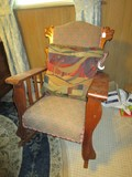 Vintage Wooden Rocking Chair w/ Lion Head Wings, Arched Top, Upholstered Seat, Slat Sides