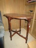 Wooden Side Table w/ Column/Block Legs, Oval Top, Bracket Sides, Grooved Stretcher w/ Finial