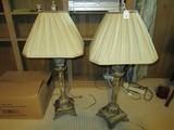 Pair - Antique Patina/Design Desk Lamps, Leaf/Floral Base/Top