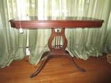 Oak Vintage Lyre-Body Side Table, Wave Trim, Grooved/Metal Paw Feet