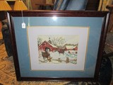 Horse & Sleigh Winter/X-Mas Scene Stitch Art in Dark Wood Frame/Matt