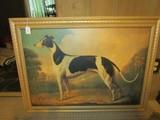 Vintage Design Greyhound Picture Print in Gilted Wooden Frame/Matt