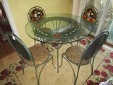 Round Glass Top Table w/ 4 Matching Chairs, Floral/Fruit Motif, Table Metal Base